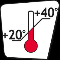Min +20 °C - Max +40 °C