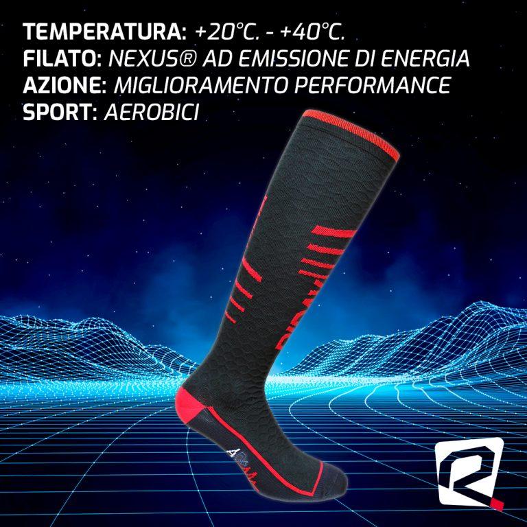 Calza AD+: emissione di energia a favore del piede e del polpaccio
